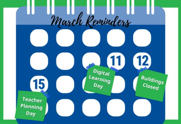 March Calendar Reminders