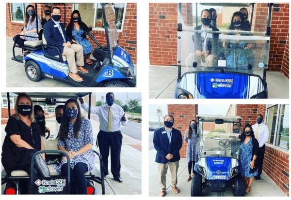 BASA trying out the new golf cart donated by Bank OZK