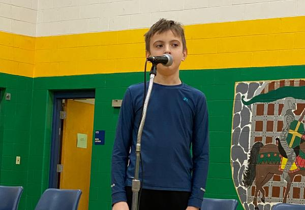 Griffin Beckman in the Spelling Bee