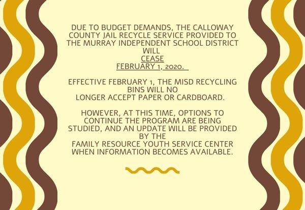 Effective February 1, No Cardboard or Paper will be Accepted in the MISD Recycle Bins