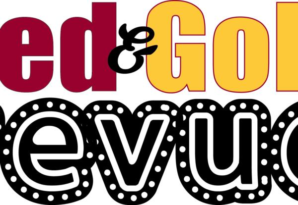 red and gold revue logo