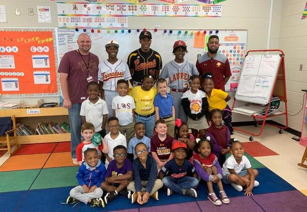 baseball team with students