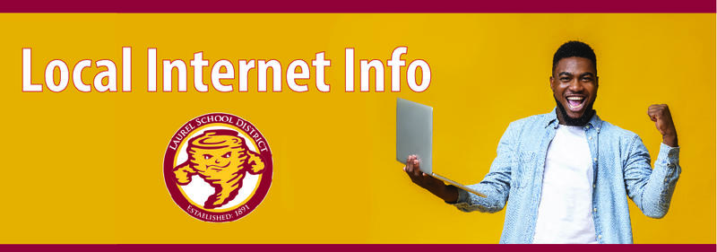 local internet Info photo of student holding laptop school district logo tornado