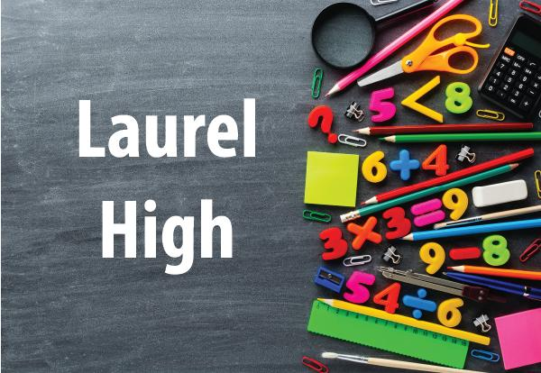 Laurel High photo of school supplies and chalkboard