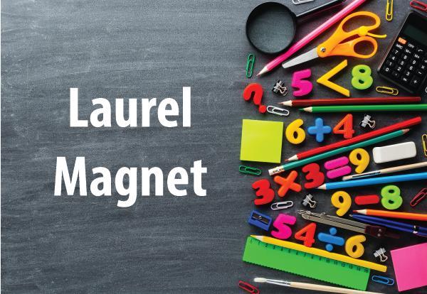 Laurel Magnet photo of school supplies and chalkboard