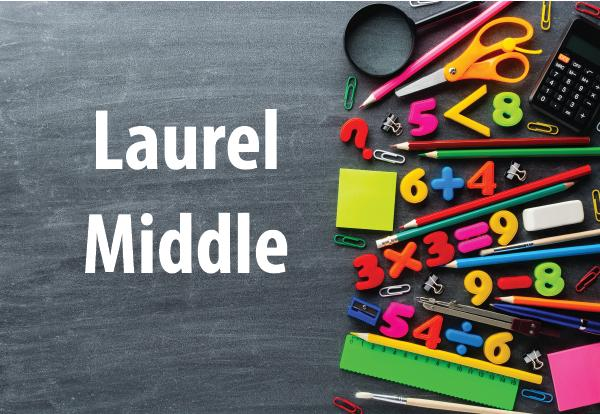 Laurel Middle photo of school supplies and chalkboard