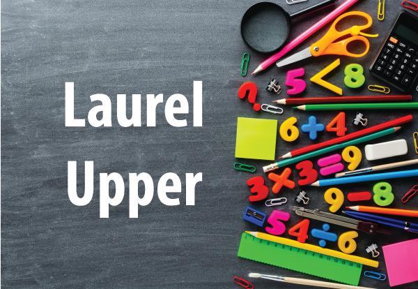 Laurel Upper photo of school supplies and chalkboard