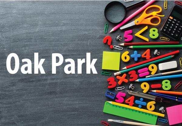 Oak Park photo of school supplies and chalkboard