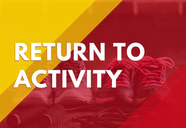 Return to Activity words with background image of training shoes
