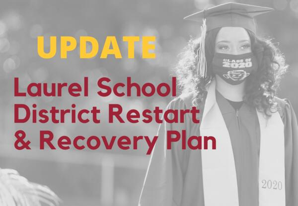update laurel school district restart and recovery plan image of graduate wearing mask