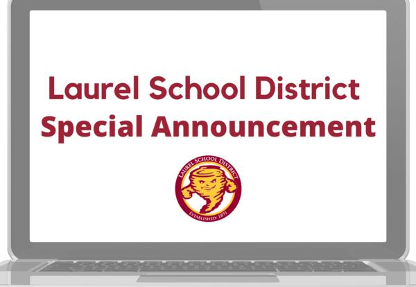 Laurel school district special announcement image of logo and laptop