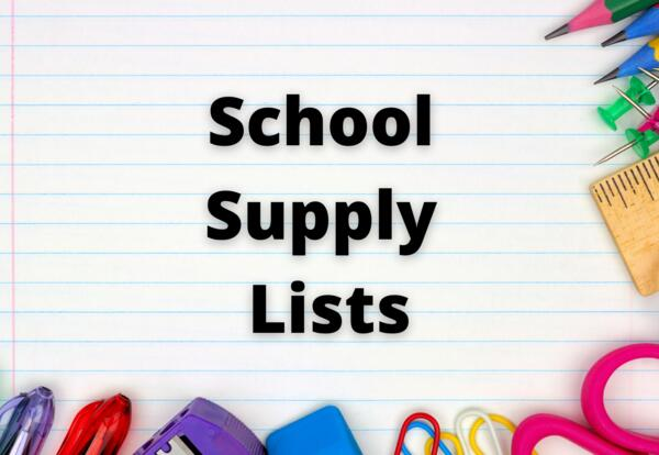 2021-2022 School Supply List:  Ruled paper with school supplies