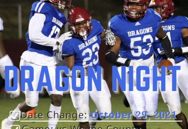 Football Players in Dragon Uniform with Caption