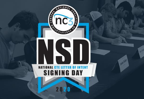 National Signing Day Logo with Students signing in the background