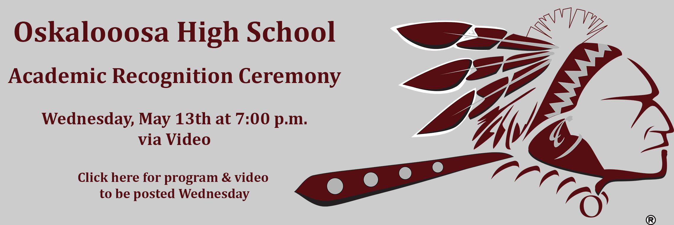 Oskaloosa High School Academic Recognition Ceremony May 13, 7:00 p.m. Click here for the program and video to come.