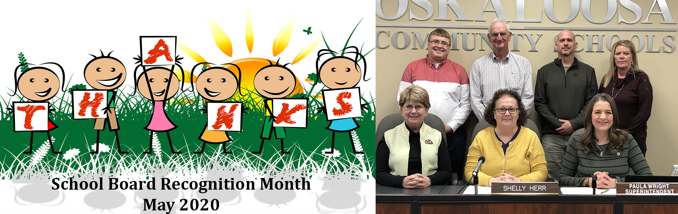 Thank you School Board Members - School Board Recognition Month May 2020 with photo of board members