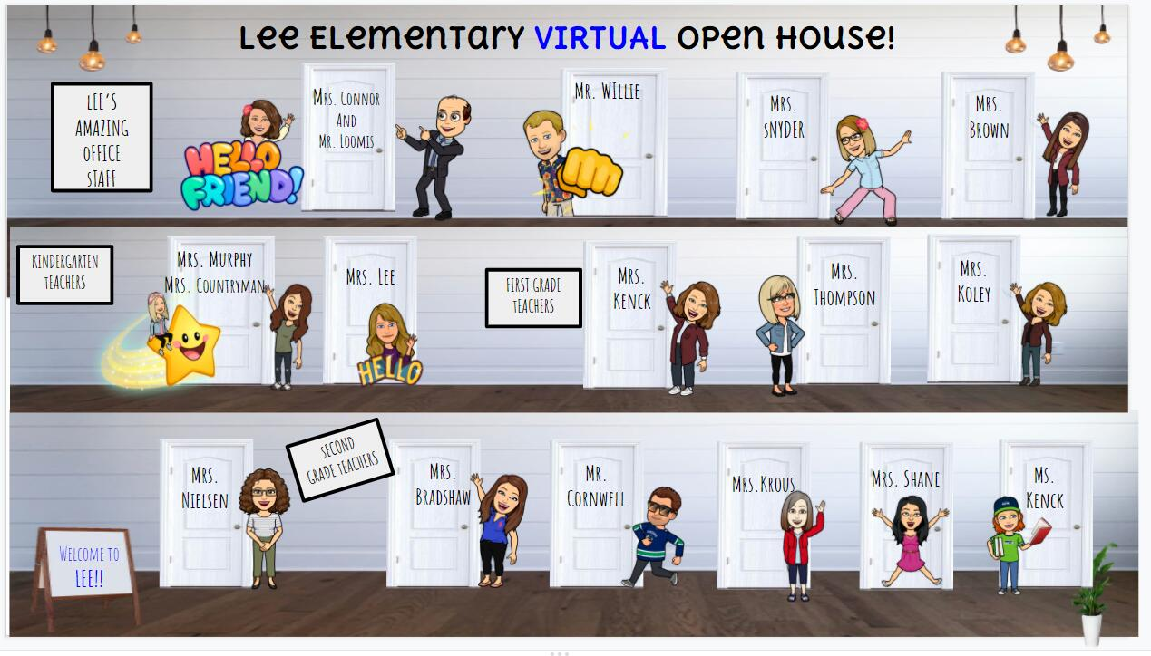 Lee Elementary Virtual Open House cartoon image