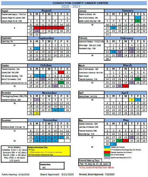Picture of School Calendar as approved by Board of Education
