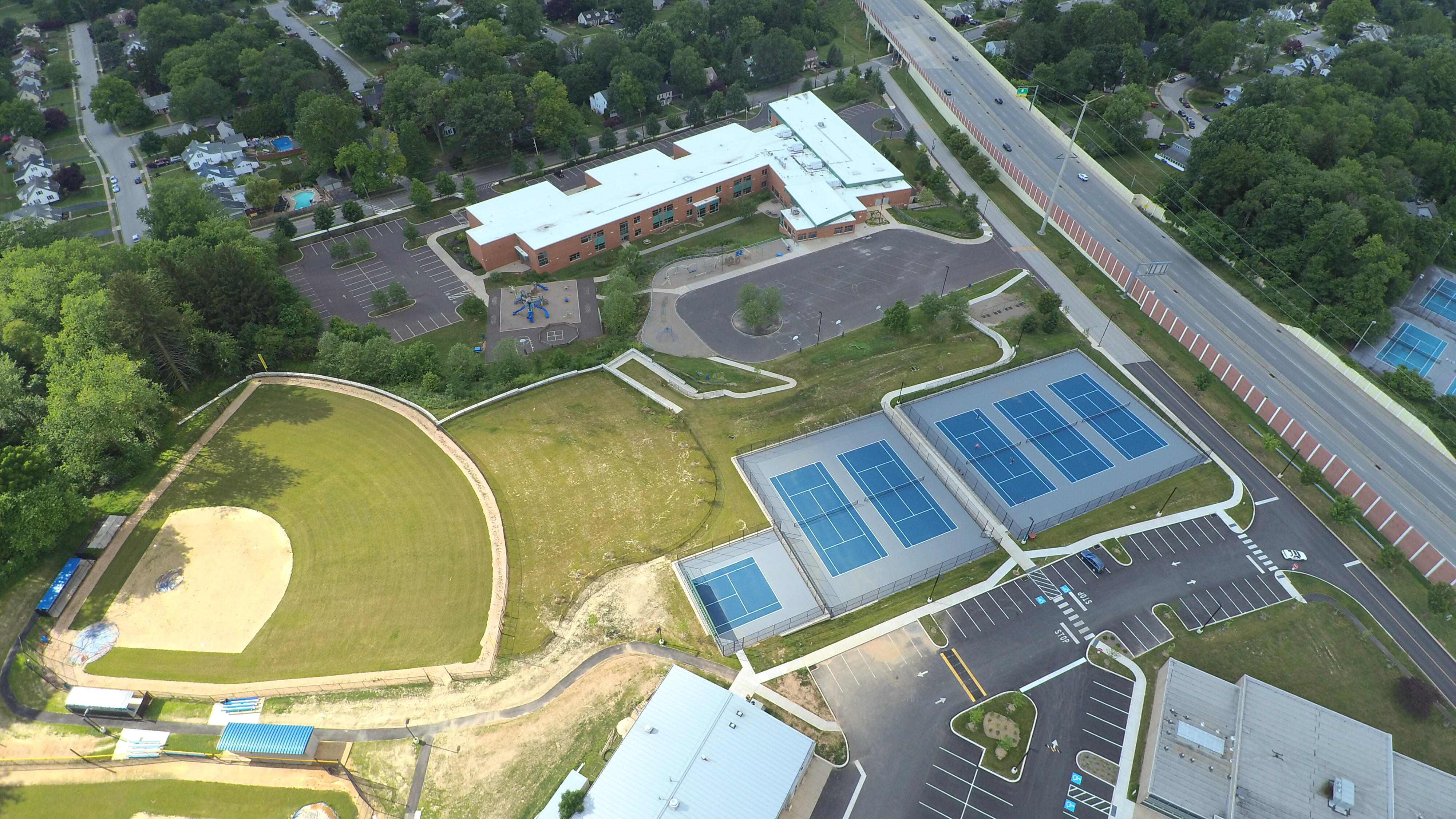Drone photo of HS Tennis Courts
