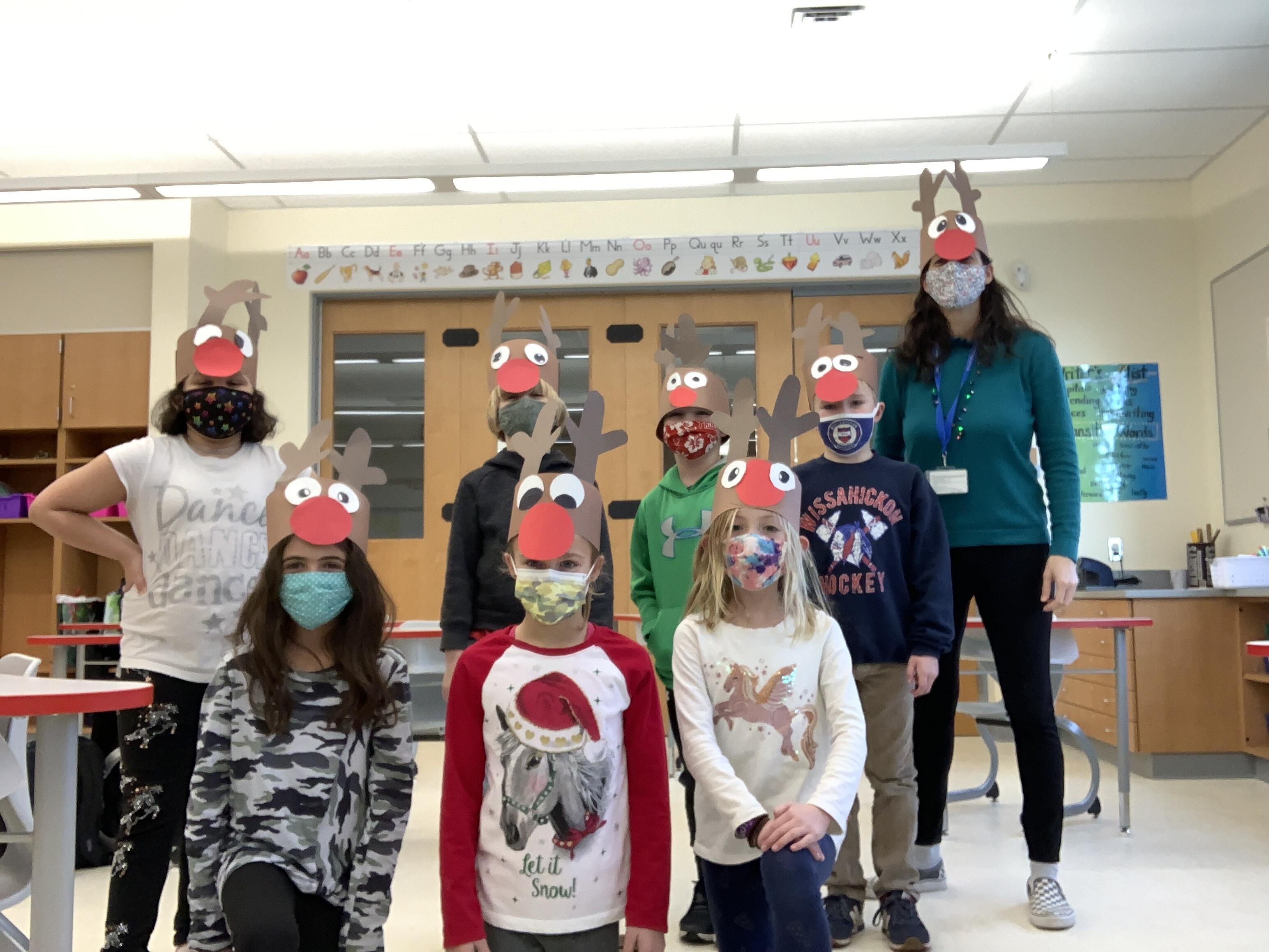 Enfield students wearing Rudolph hats
