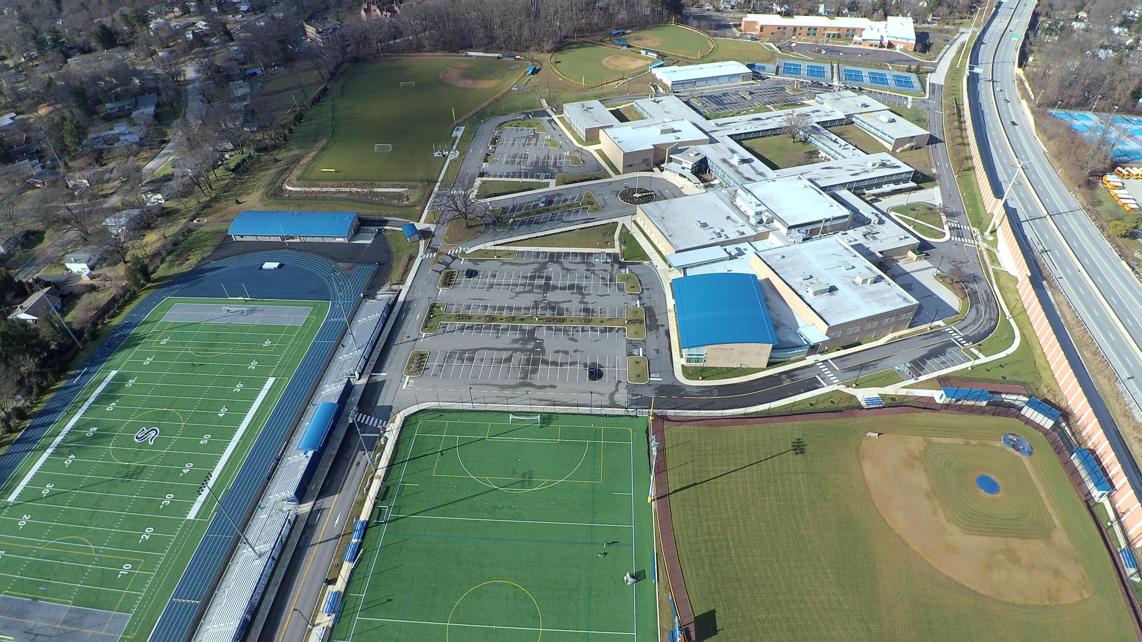 Drone photo of HS grounds
