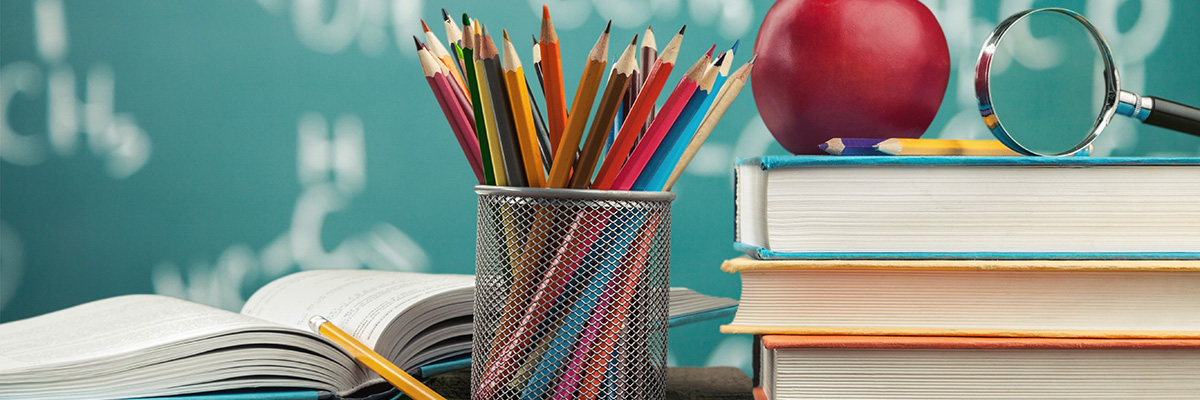 Colorful books and pencils