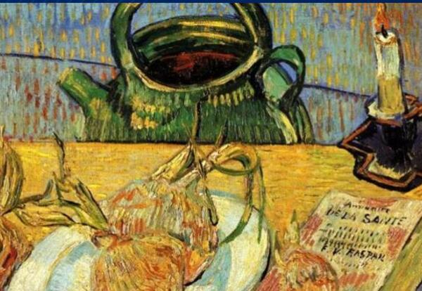Vincent van Gogh,Still Life with Drawing Board, Pipe, Onions and Sealing-Wax, oil on canvas, 1889.