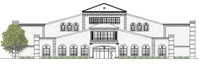 Black and White Rendering of ECS Building Front