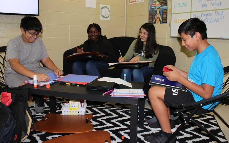 Photo of students reading