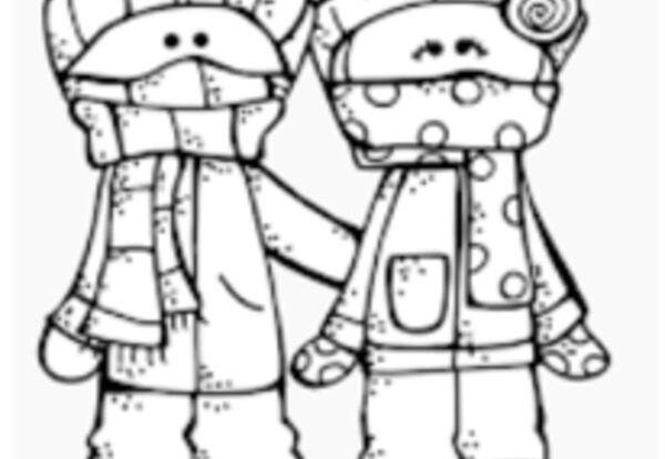 Two kids bundled up for cold weather.