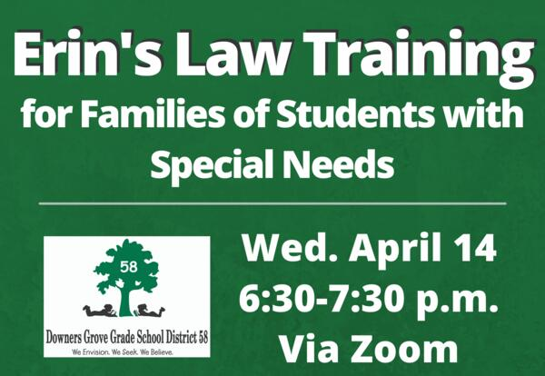 """District 58 will co-host """"Erin's Law Training for Families of Students with Special Needs"""" on April 14"""
