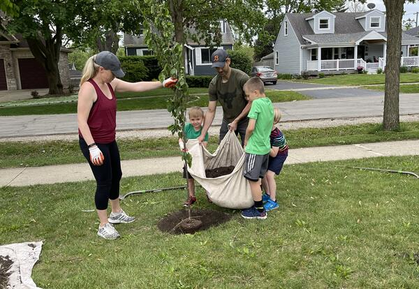 Lester Community Playground plants 16 new trees, thanks to local partnership