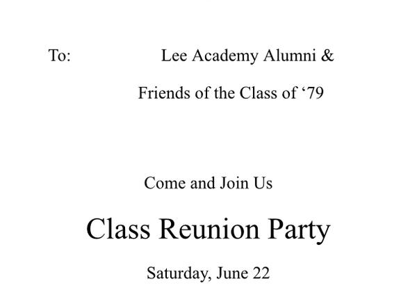 Lee Academy Class Reunion Party
