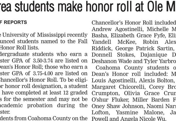 Lee Alumni named to Ole Miss Honor Roll
