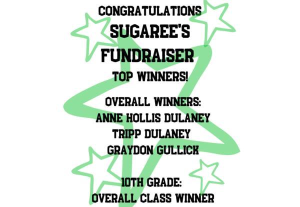 Congratulations Sugaree's Fundraiser Top Winners!