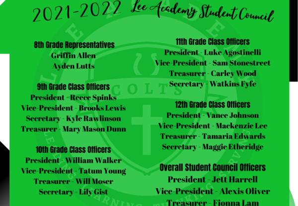 2021-22 Lee Academy Student Council