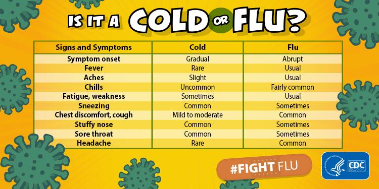 Chart showing the differences between cold and flu