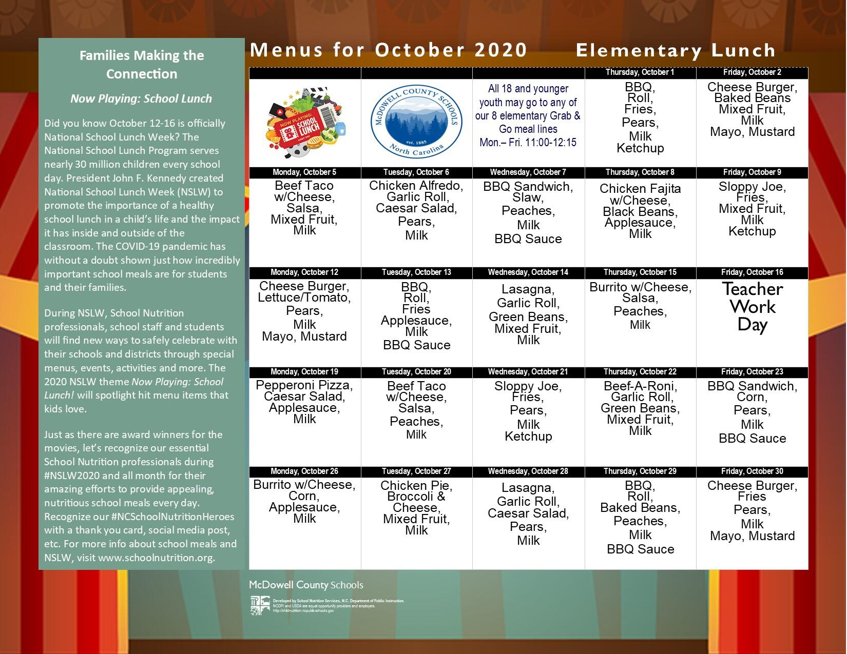 October  2020 Elementary Lunch