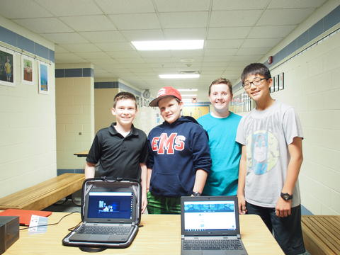 Middle School boys show broadcasting project