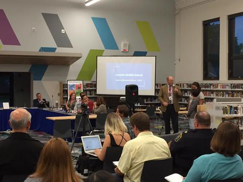Dr. Murray presenting at the Board of Ed meeting
