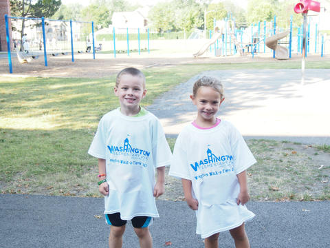 Two students at walk-a-thon