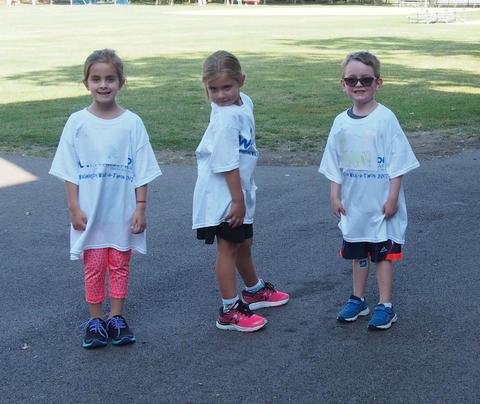 Three students posing at walk-a-thon