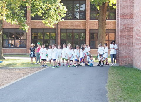 Students at their starting line
