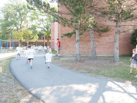 Several students running