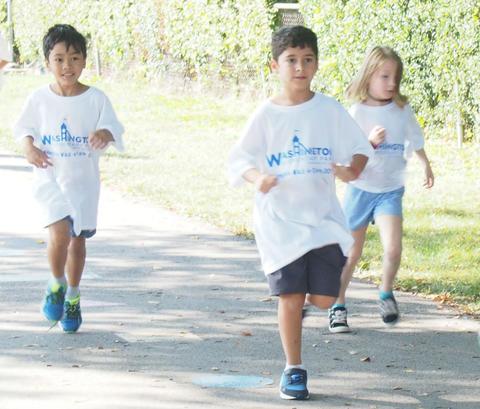 Three students on track