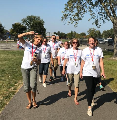 Group of staff walking