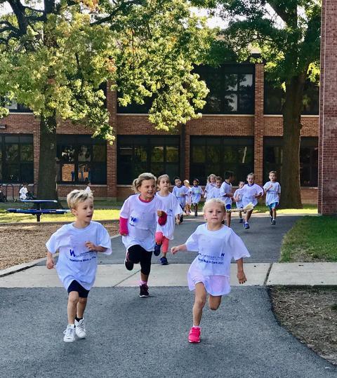 Children running full force