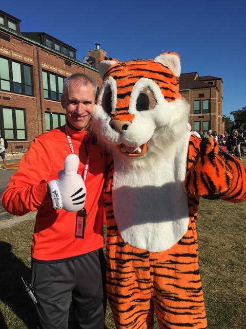 Principal and Tiger Mascot