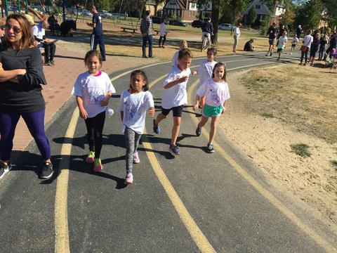 Group of students running