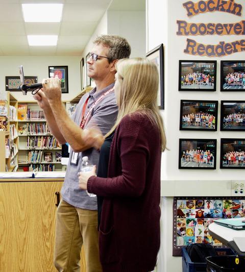 Teacher and Google Rep